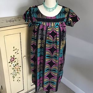 💕Black Abstract Print Shift Dress Size Large